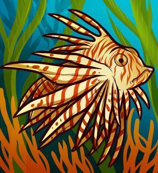 Рисуем рыбу крылатку