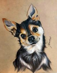 Как нарисовать собачку по сетке цветными акварельными карандашами