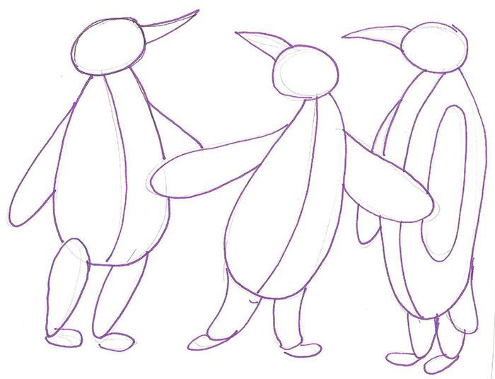 Рисуем трех пингвинов - шаг 2