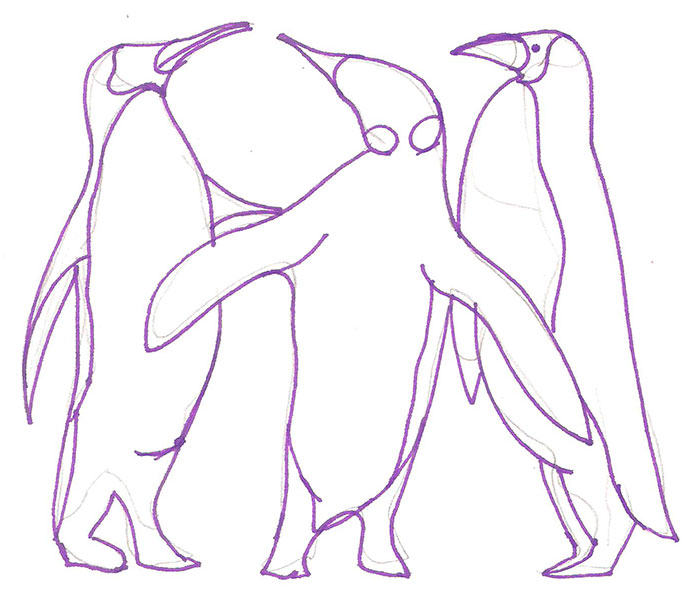 Рисуем трех пингвинов - шаг 4
