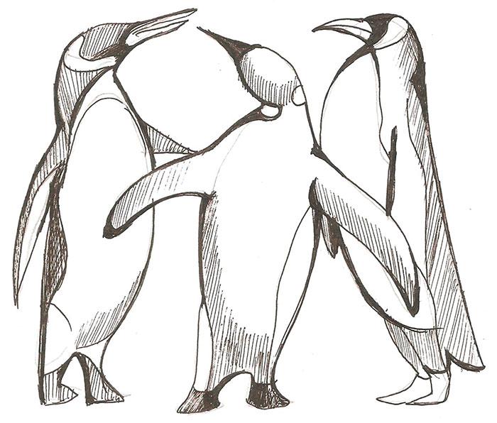 нарисовать трех пингвинов