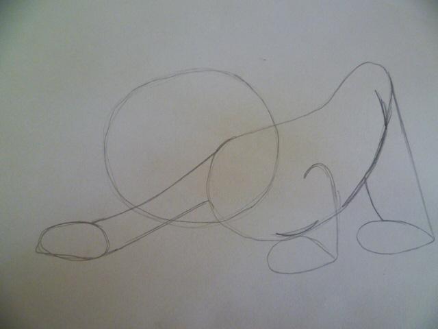 Рисуем мультяшного котенка - шаг 2