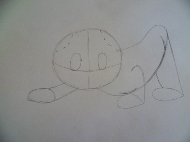 Рисуем мультяшного котенка - шаг 3