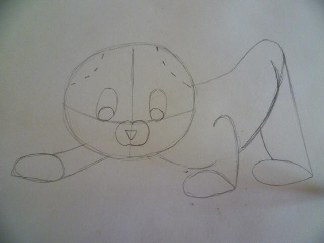 Рисуем мультяшного котенка - шаг 4