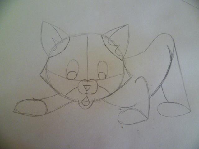 Рисуем мультяшного котенка - шаг 5