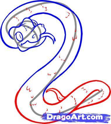 Как нарисовать водяную змею на бумаге карандашом поэтапно