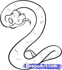 водяную змею на бумаге карандашом
