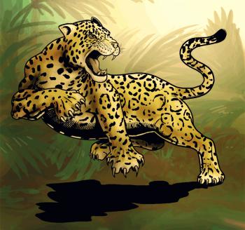 Как нарисовать ягуар в прыжке карандашом на бумаге