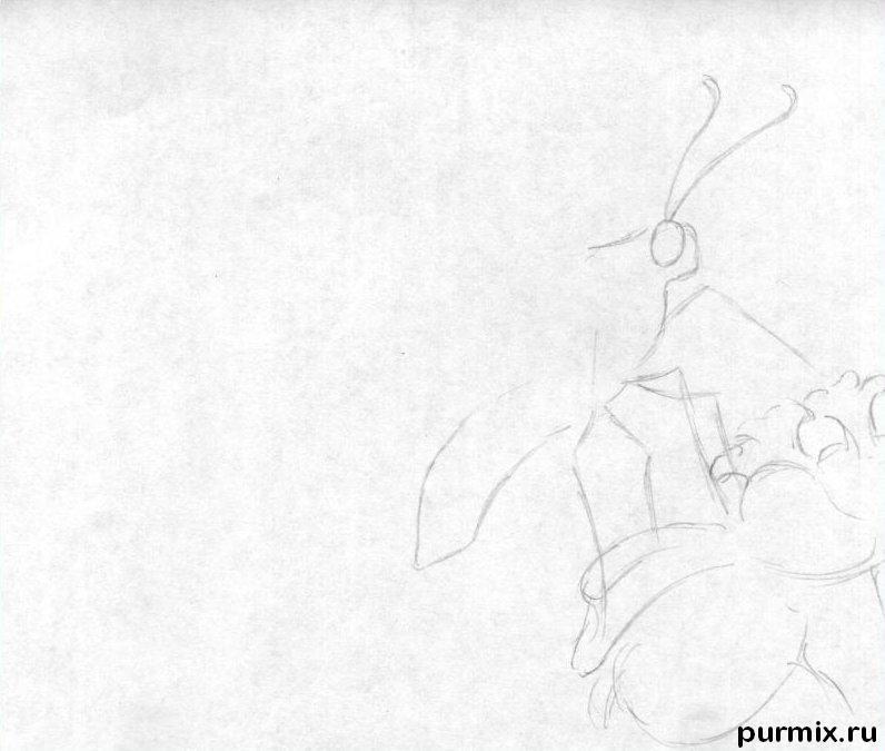 Рисуем бабочку на цветке карандашами - шаг 1