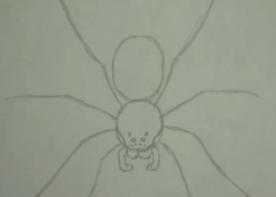 Как научиться рисовать паука простым - шаг 2