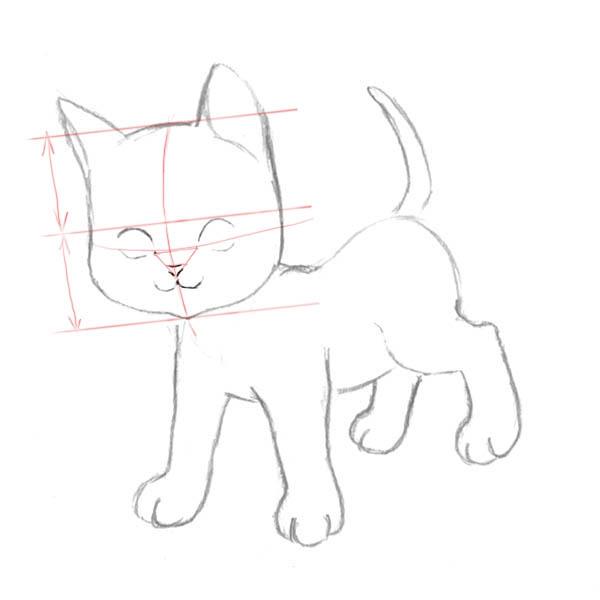 Рисуем котенка - шаг 3