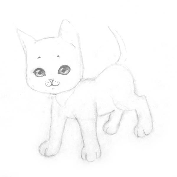 Рисуем котенка - шаг 5