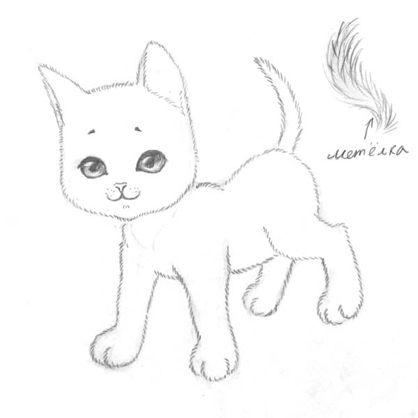 Рисуем котенка - шаг 6