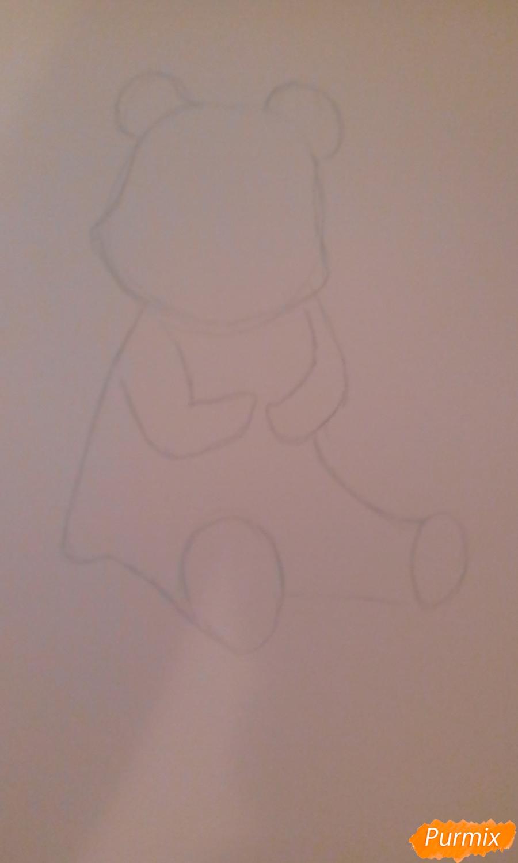 Рисуем панду с детьми карандашами - шаг 1