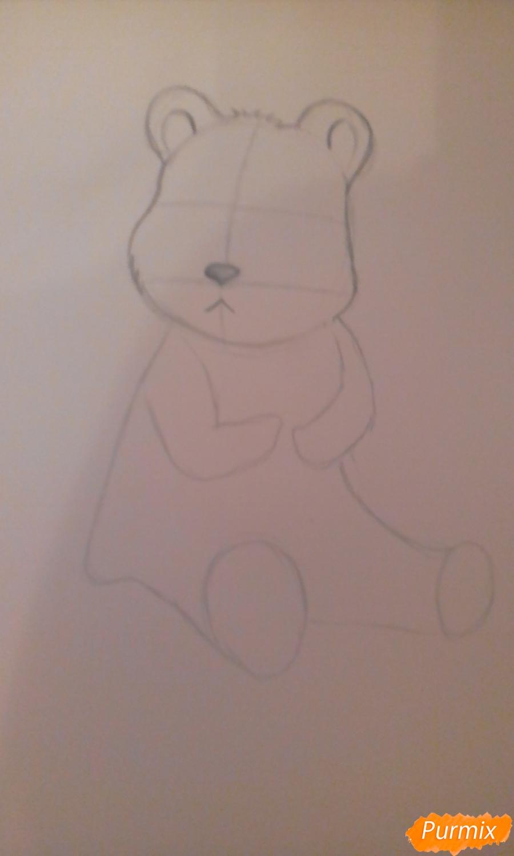 Рисуем панду с детьми карандашами - шаг 2