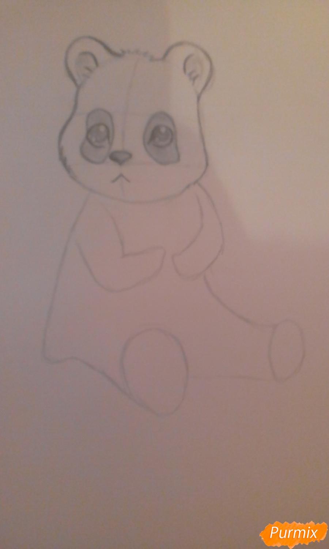 Рисуем панду с детьми карандашами - шаг 3
