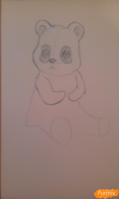 Рисуем панду с детьми карандашами - шаг 4