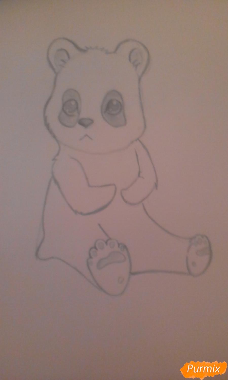 Рисуем панду с детьми карандашами - шаг 5