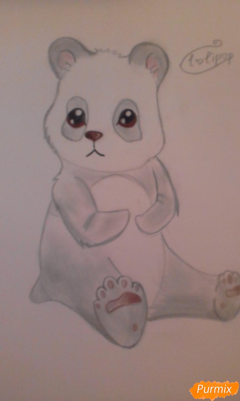 Рисуем панду с детьми карандашами поэтапно