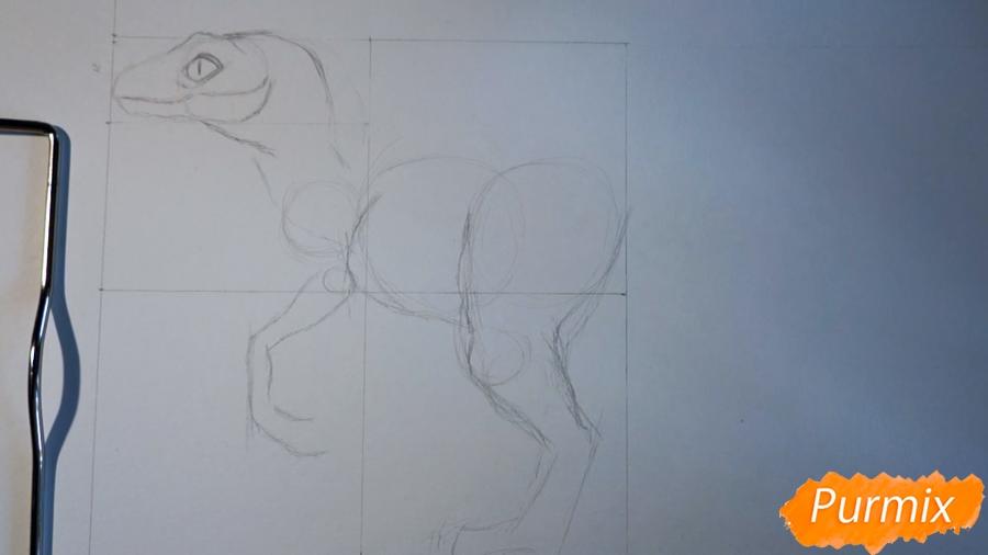 Учимся рисовать Велоцираптор - шаг 5