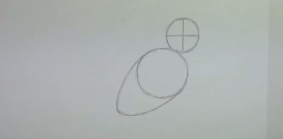 Учимся рисовать ворону простым - шаг 1
