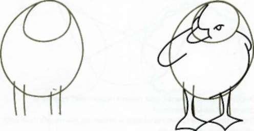 Рисуем милого утёнка - шаг 1