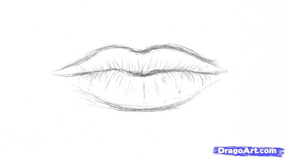 рисуем очертание Губы карандашом