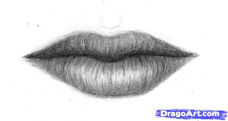 Как нарисовать Губы карандашом поэтапно