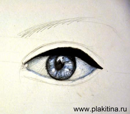 Рисуем женский глаз цветными карандашами - шаг 3