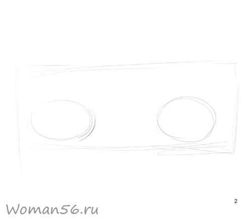 Как просто нарисовать женские глаза - шаг 2