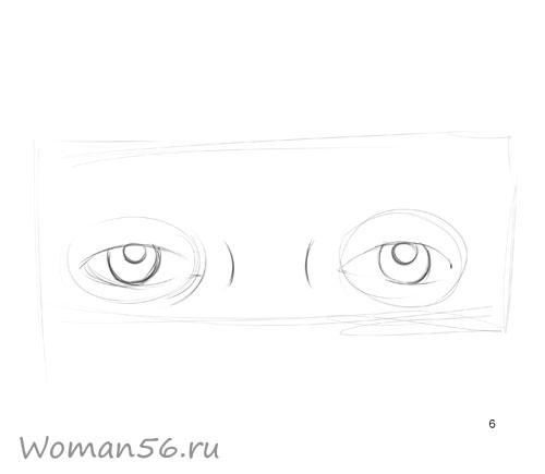 Как просто нарисовать женские глаза - шаг 6