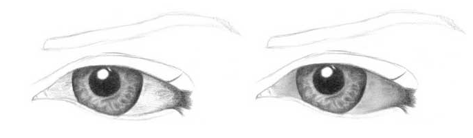 Учимся рисовать глаза человека - шаг 5