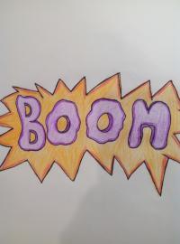 Рисунок слово BOOM в стиле граффити