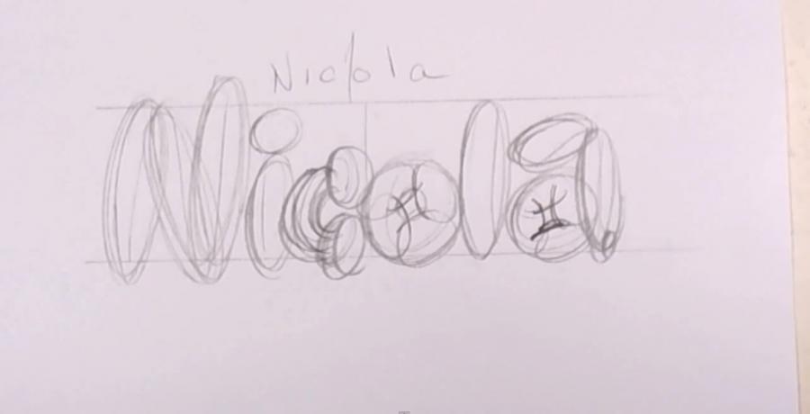 Как красиво нарисовать имя Nicola карандашом поэтапно