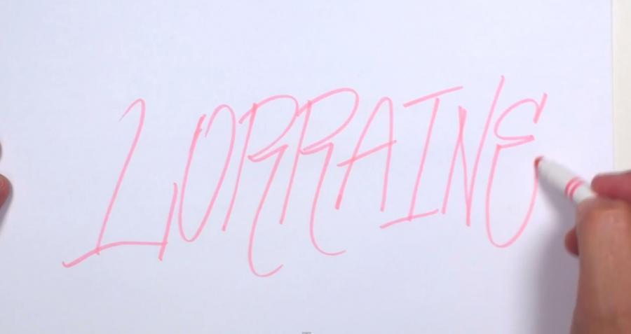 Рисуем слово Lorraine  или фломастером - шаг 1