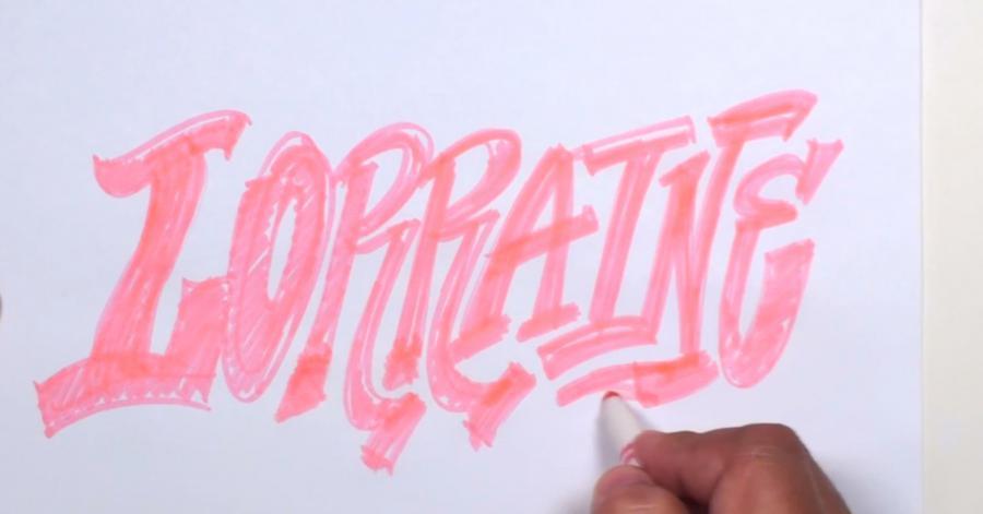 Рисуем слово Lorraine  или фломастером - шаг 2