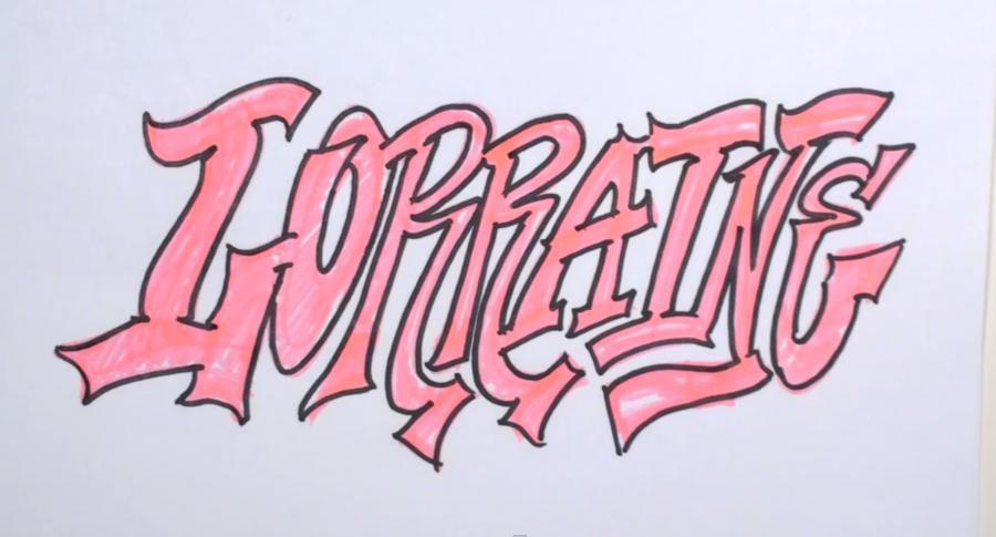 Рисуем слово Lorraine  или фломастером - шаг 3