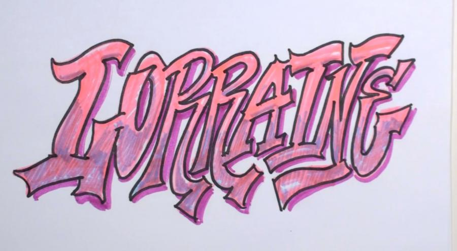 Рисуем слово Lorraine  или фломастером - шаг 4