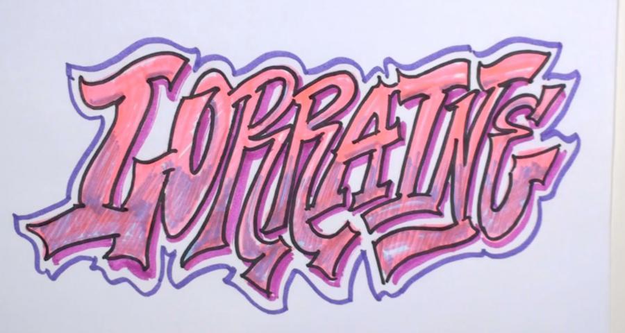 Как нарисовать слово Lorraine карандашом или фломастером