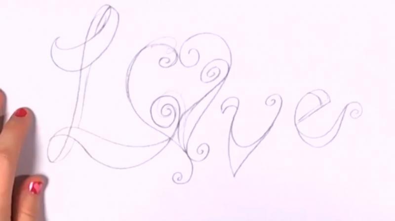 Как красиво нарисовать слово love - шаг 3
