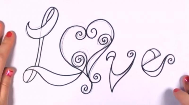 Как красиво нарисовать слово love - шаг 6