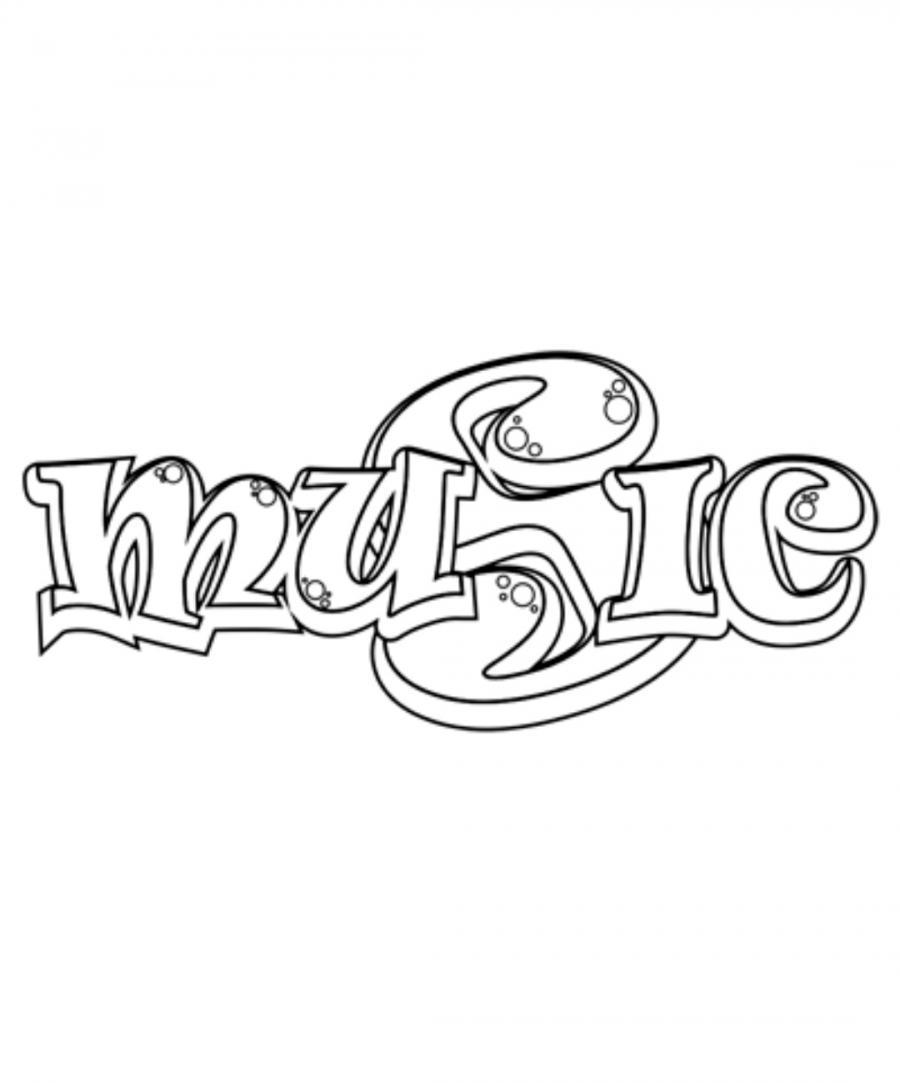 Как красиво нарисовать слово music  на бумаге