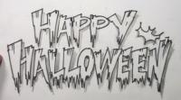 Как нарисовать Happy Halloween на бумаге карандашом поэтапно