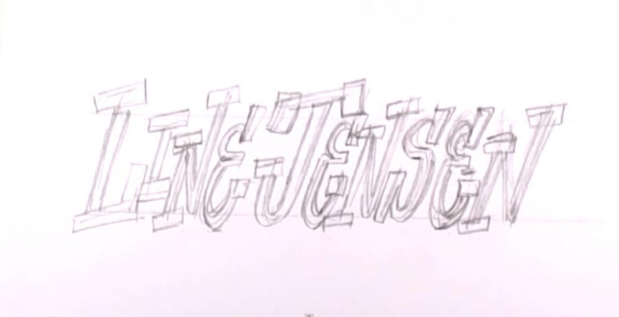 Рисуем горящее слово Line Jensen на бумаге