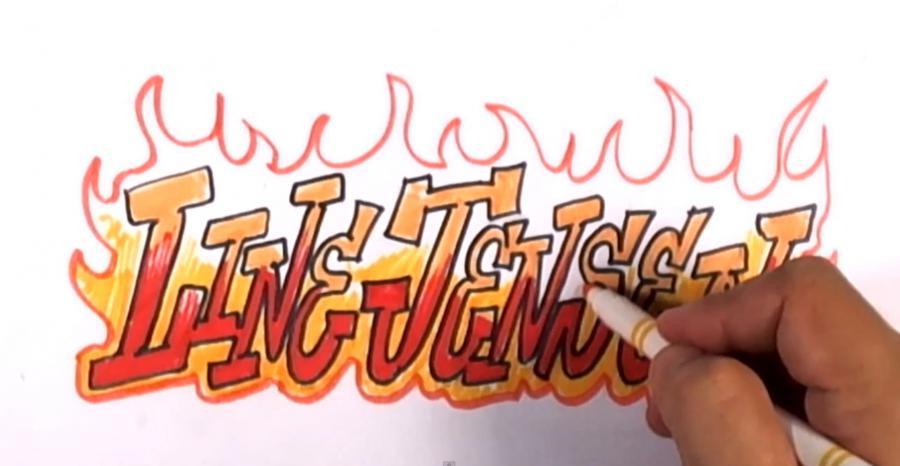 Рисуем горящее слово Line Jensen карандашами - фото 7
