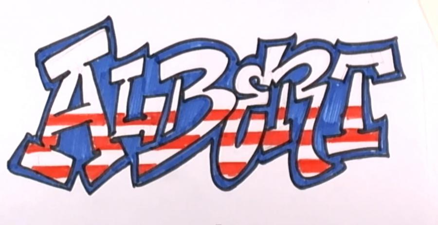 Рисуем граффити имя Albert на бумаге