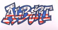 граффити имя Albert на бумаге карандашом