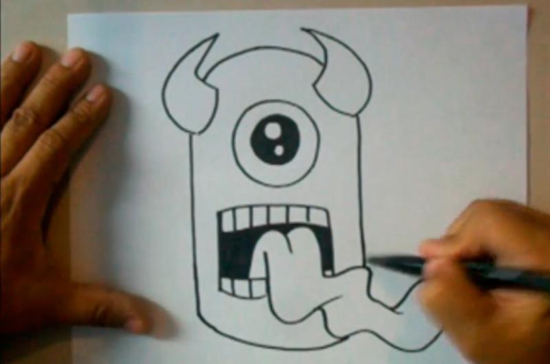 Рисуем граффити: одноглазого монстра на бумаге