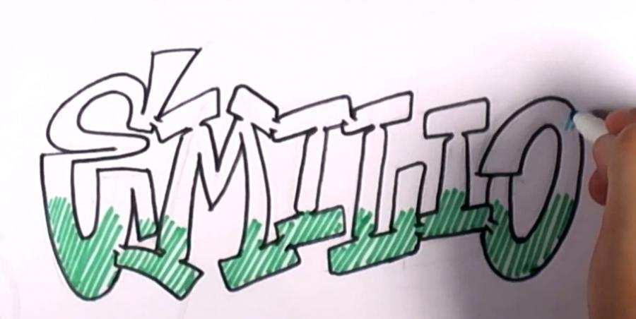 Рисуем и разукрасить имя Emilio на бумаге