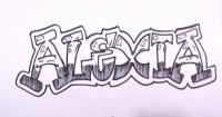 Фото имя Alexia карандашом на бумаге